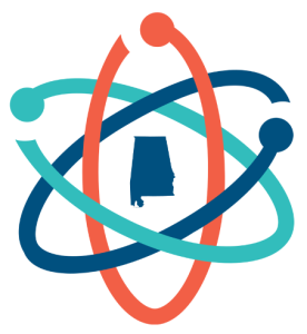 March for Science atom logo with the state of Alabama