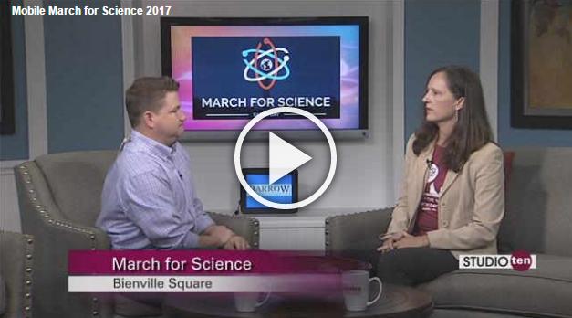 Studio 10 host Joe Emer with March for Science Mobile co-coordinator Angela Jordan on the set of Studio 10.