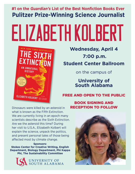 Elizabeth Kolbert, author of The Sixth Extinction, speaks on Wednesday, April 4, 2018 at 7pm in the Student Center Ballroom on the Campus of the University of South Alabama.