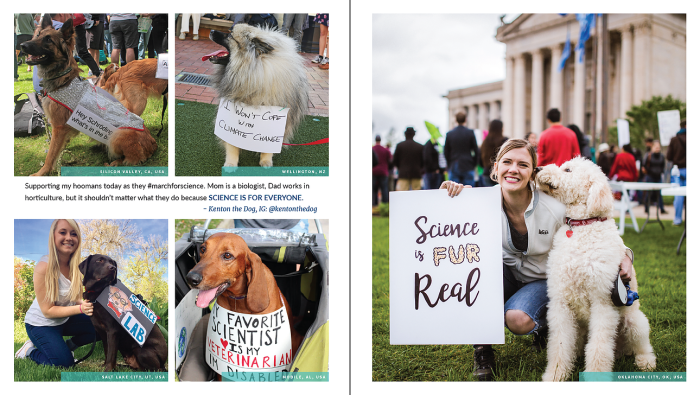 Science Not Silence photo spread featuring dogs at marches.