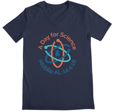 A Day for Science Mobile AL 14.4.18 v-neck shirt in navy